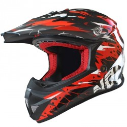 CASQUE CROSS NOEND CRACKED ROUGE