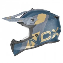 CASQUE CROSS NOX N633 VIPER BLEU OR MAT